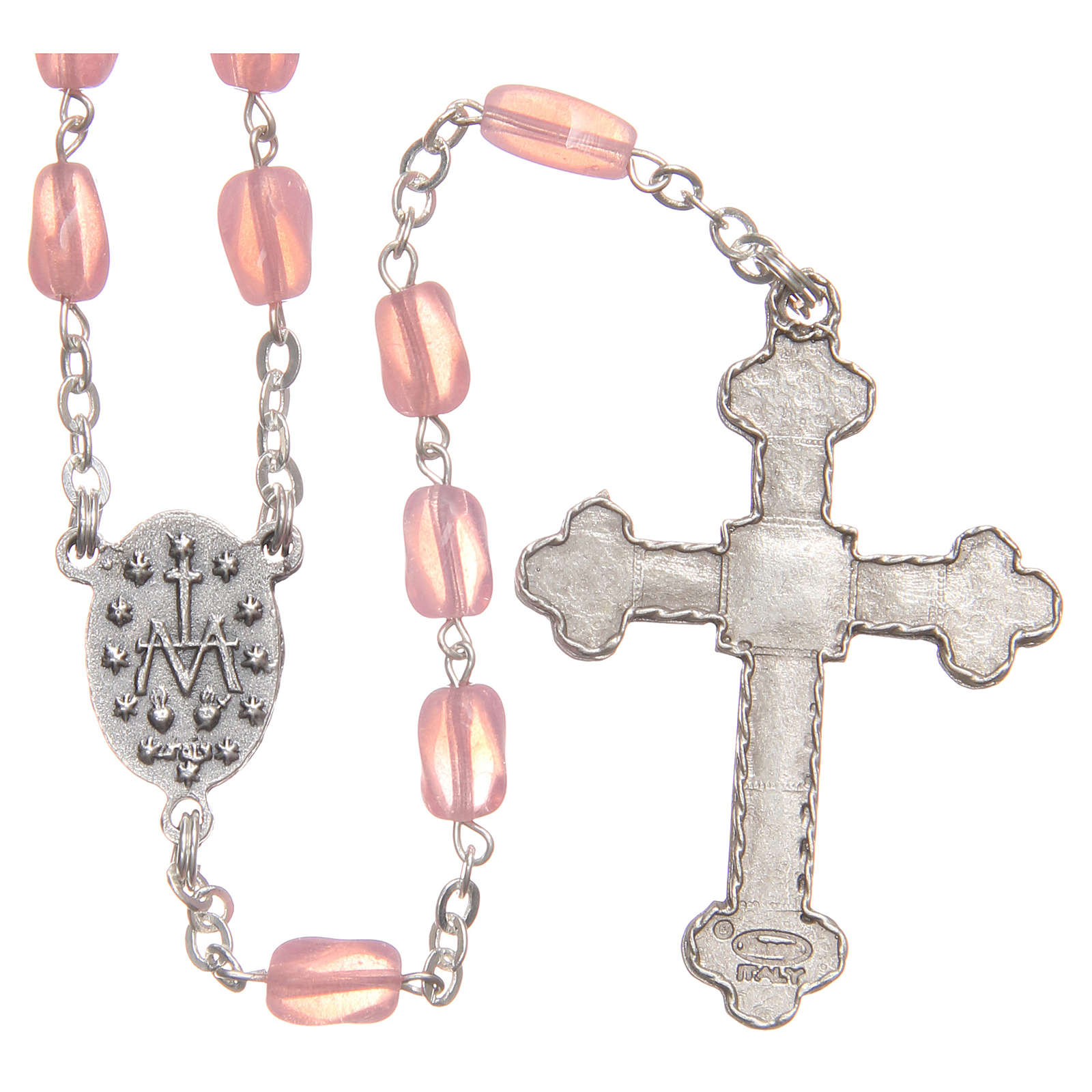 STOCK Pink glass rosary, hand-set 4
