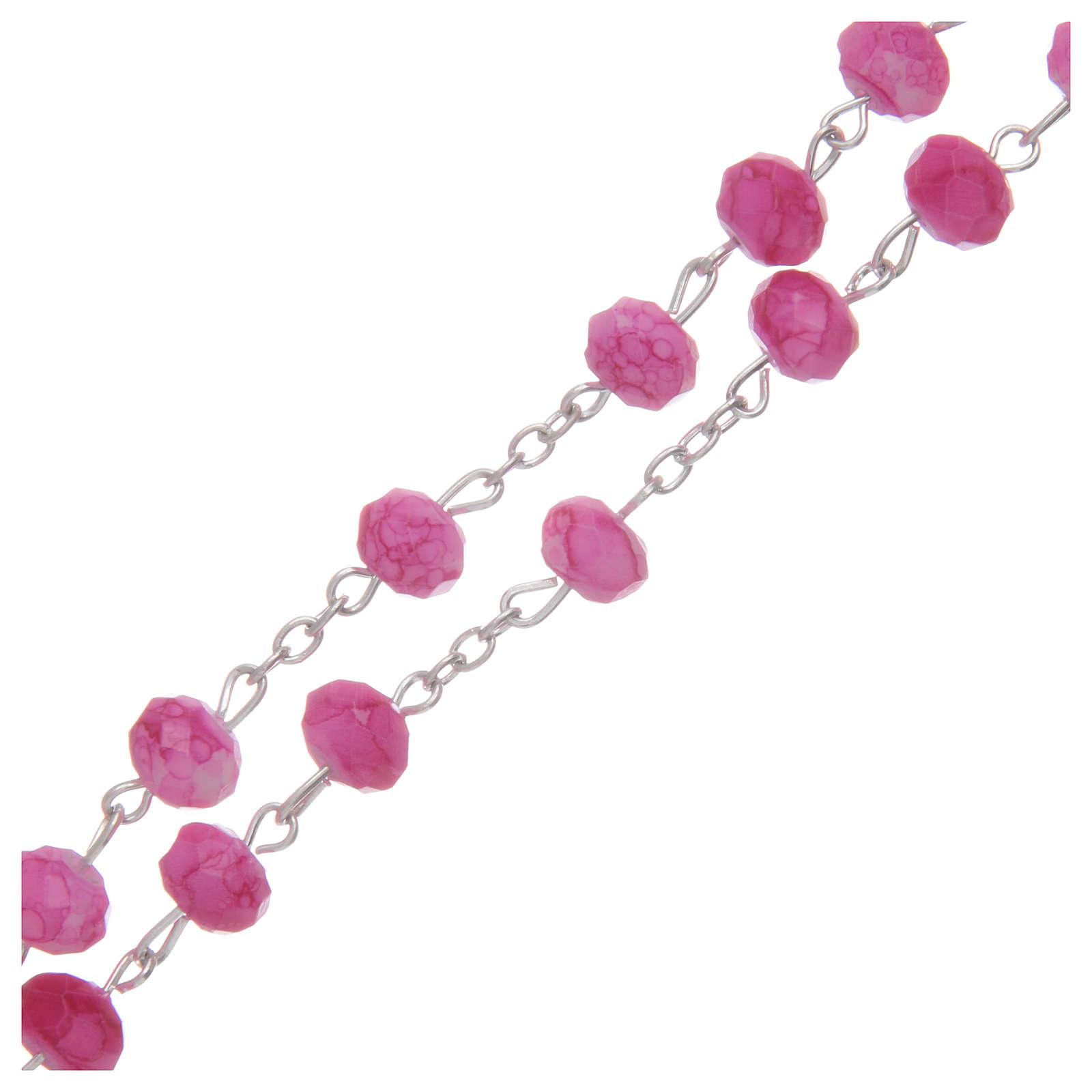 Rosario con grani in vetro sfaccettato di colore rosa 4