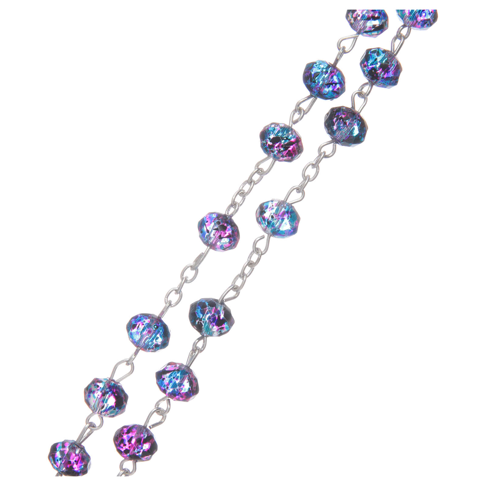 Rosario con cuentas de cristal facetado violeta 4