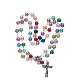 Chapelet avec grains en verre imitation perles multicolores s4