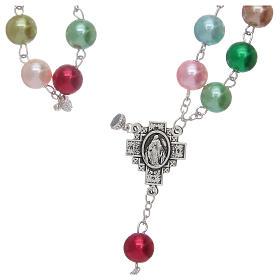 Chapelet avec grains en verre imitation perles multicolores s5