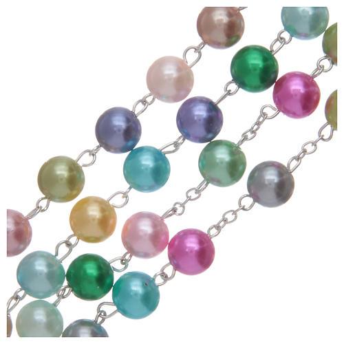 Chapelet avec grains en verre imitation perles multicolores 3