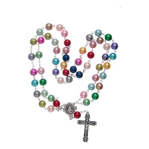 Chapelet avec grains en verre imitation perles multicolores 4