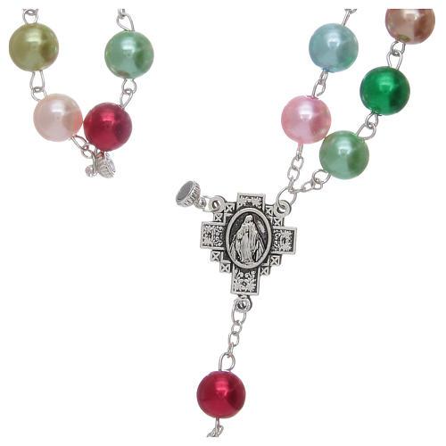Chapelet avec grains en verre imitation perles multicolores 5