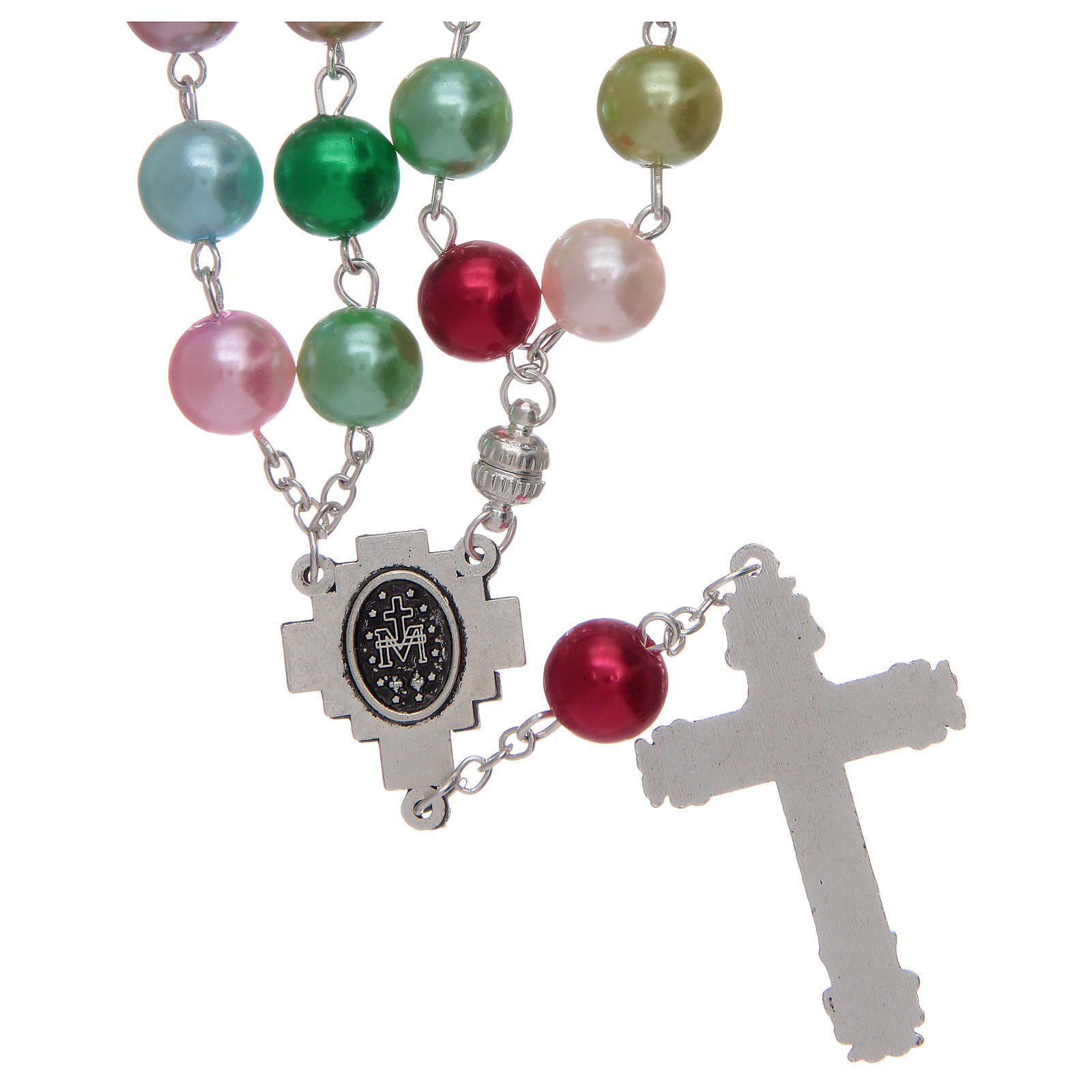 Rosario con grani in vetro imitazione perla multicolore 4