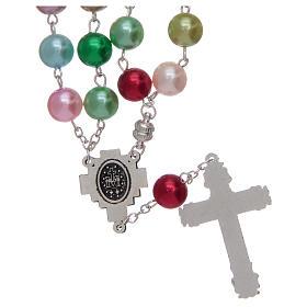 Rosario con grani in vetro imitazione perla multicolore s2