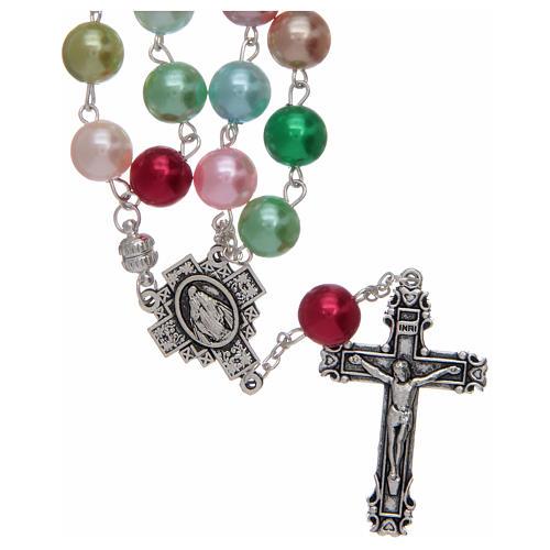 Rosario con grani in vetro imitazione perla multicolore 1