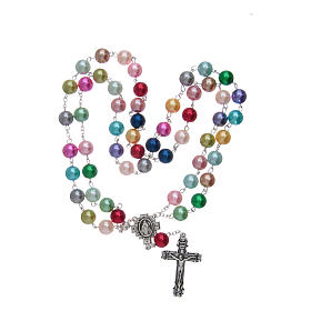 Rosary with glass pearl imitation grains multicoloured s4