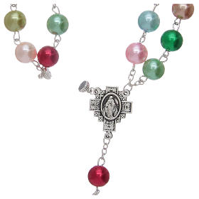 Rosary with glass pearl imitation grains multicoloured s5
