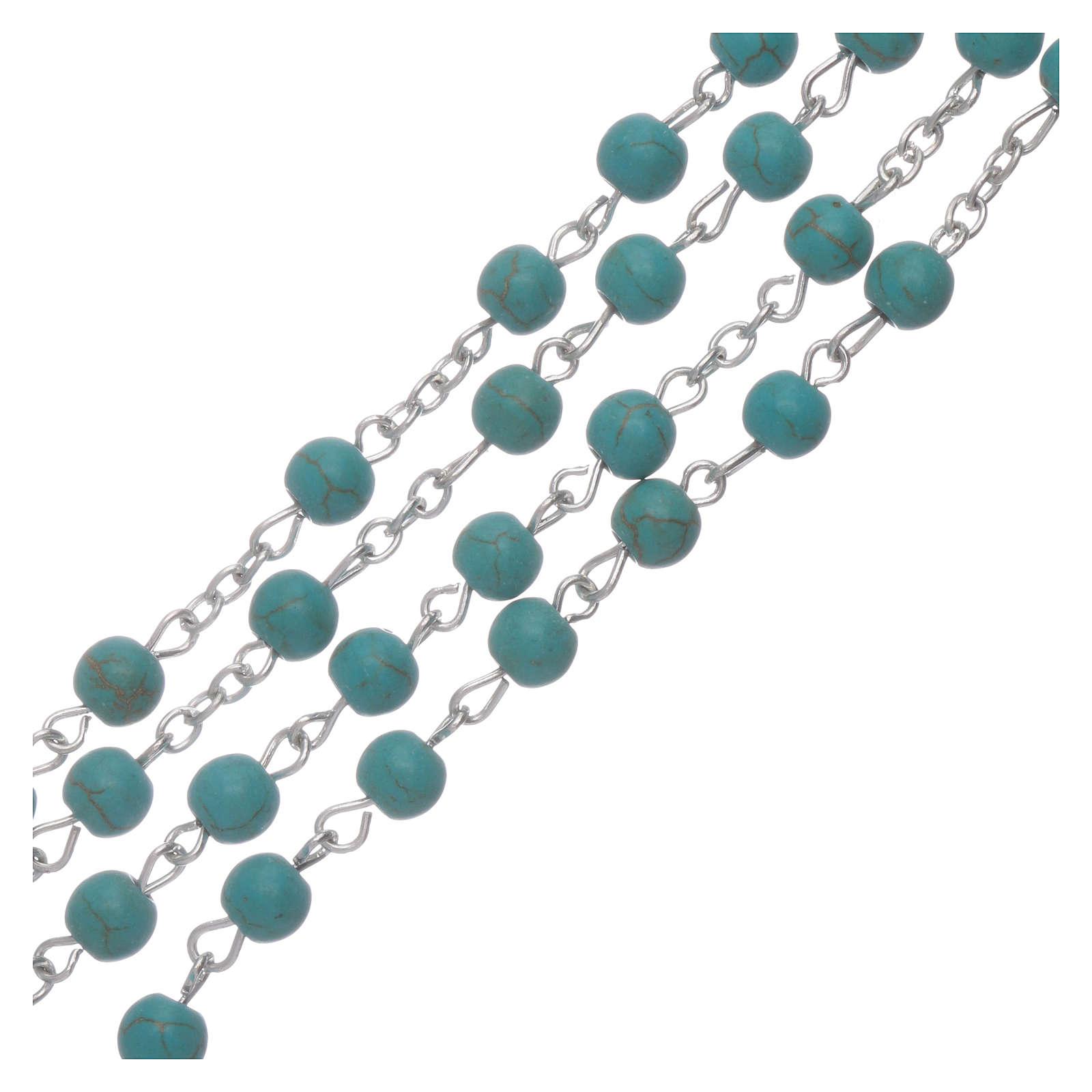 Chapelet verre couleur turquoise grains 6 mm 4