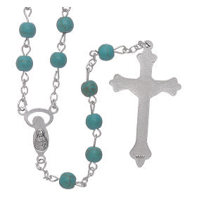 Rosary beads in turquoise glass, 6mm s2