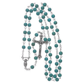 Rosary beads in turquoise glass, 6mm s4