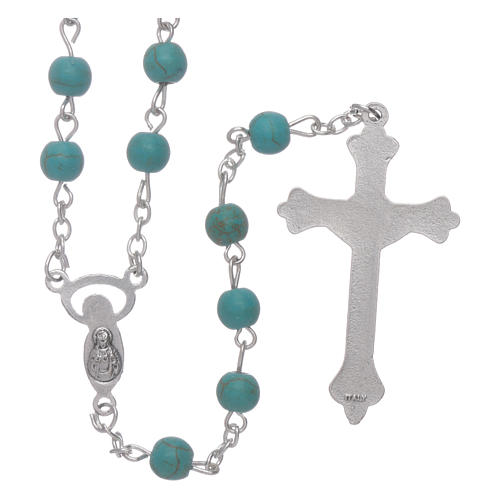 Rosary beads in turquoise glass, 6mm 2