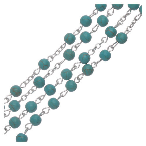 Rosary beads in turquoise glass, 6mm 3