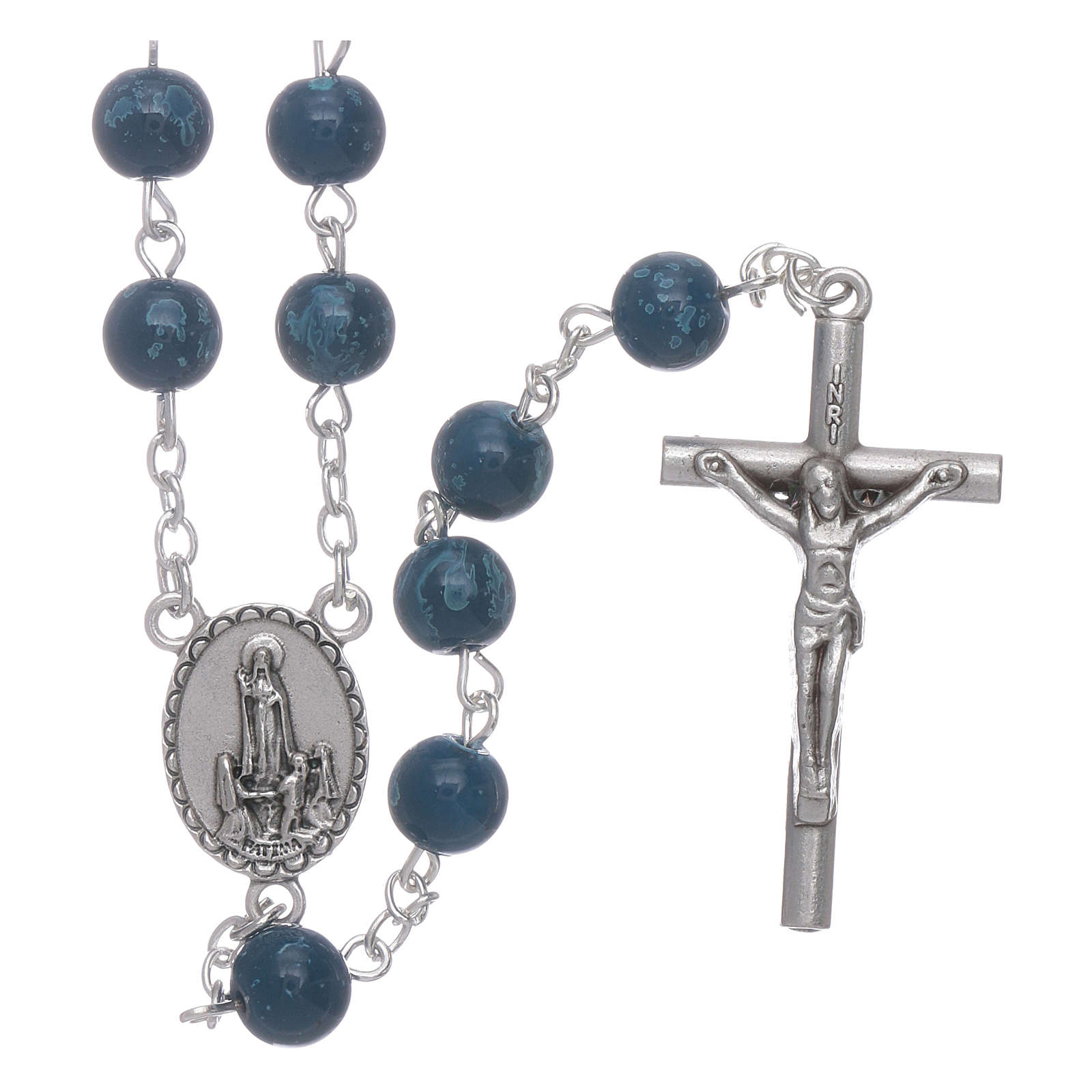Our Lady of Fatima blue glass rosary beads with box 4