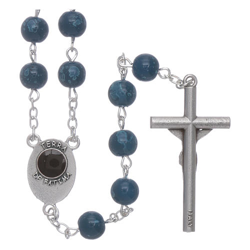 Our Lady of Fatima blue glass rosary beads with box 2