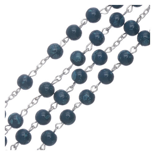 Our Lady of Fatima blue glass rosary beads with box 3