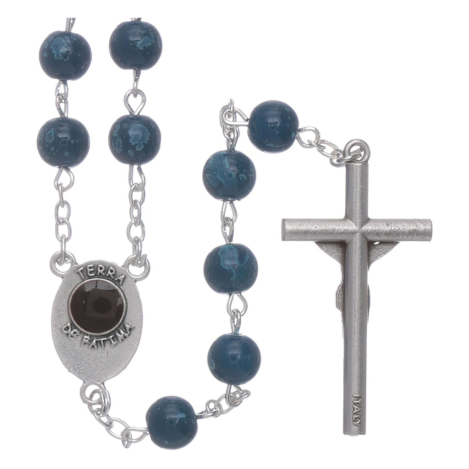 Chapelet Notre-Dame de Fatima grains verre bleu agate avec boîte 4
