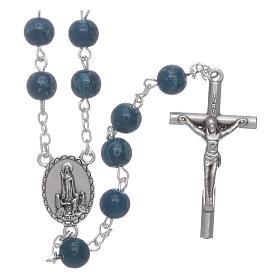 Rosario Madonna di Fatima grani vetro blu agata con scatola s1