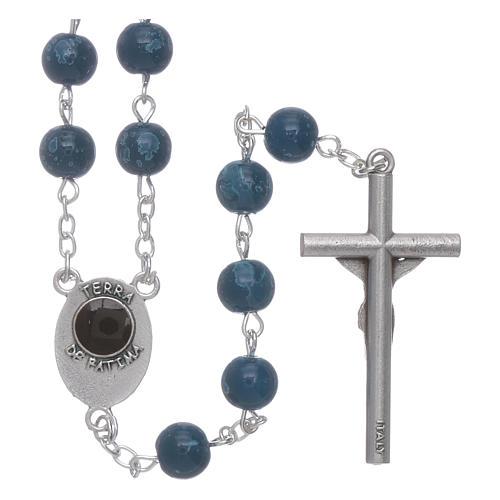 Rosario Madonna di Fatima grani vetro blu agata con scatola 2