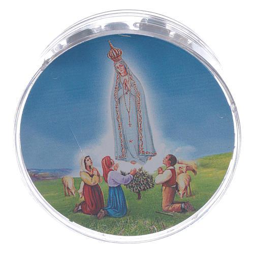 Rosario Madonna di Fatima grani vetro blu agata con scatola 5