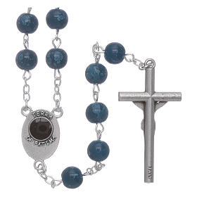 Our Lady of Fatima blue glass rosary beads with box s2
