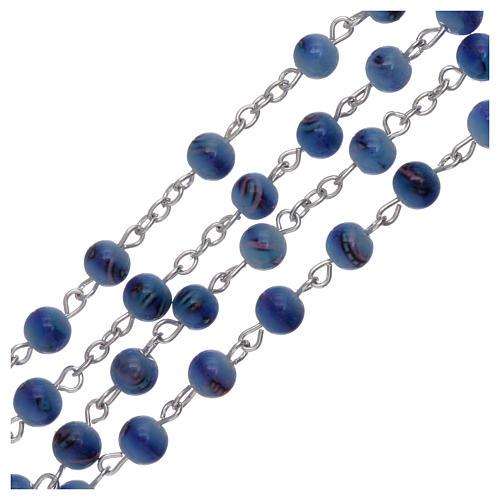 Chapelet grains verre fumé 6 mm bleu 3