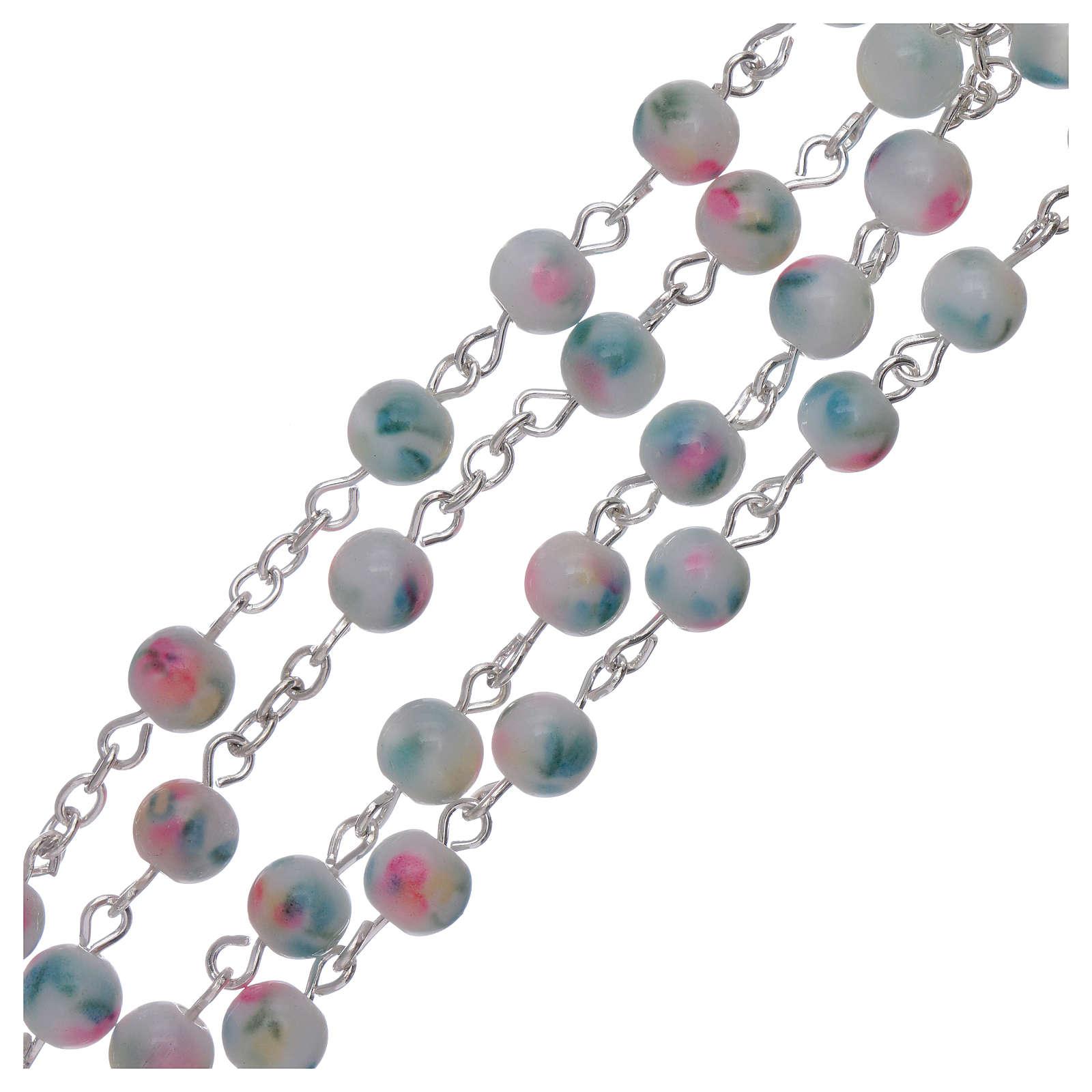 Rosario grani vetro sfumato 6 mm azzurro rosa 4