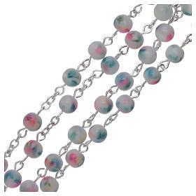 Rosario grani vetro sfumato 6 mm azzurro rosa s3
