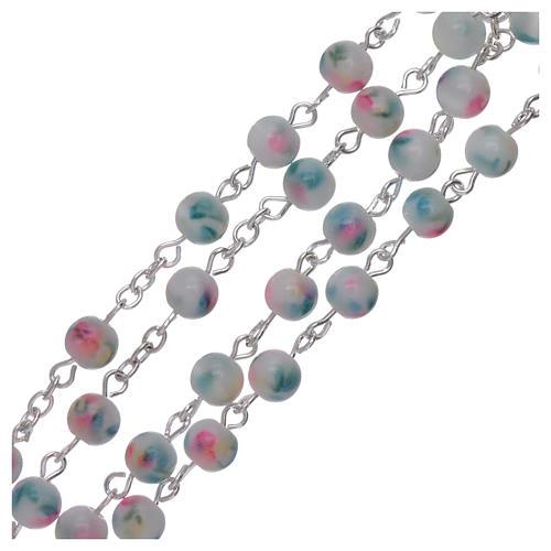 Rosario grani vetro sfumato 6 mm azzurro rosa 3