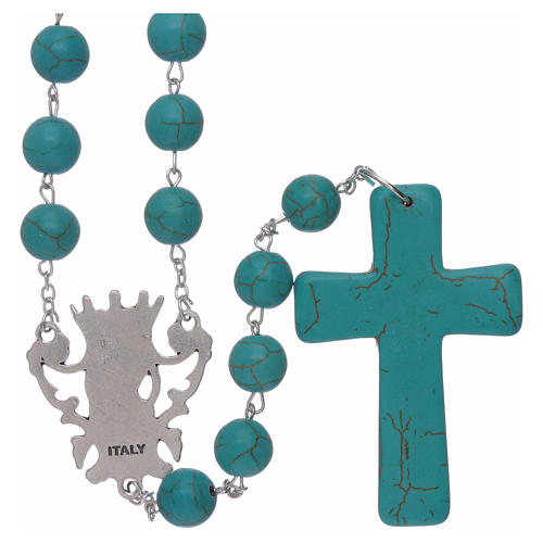 Rosary with turquoise glass grains 10 mm 2