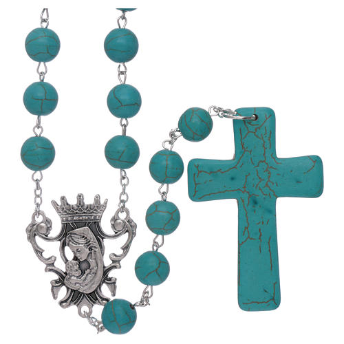 Rosary with turquoise glass grains 10 mm 1