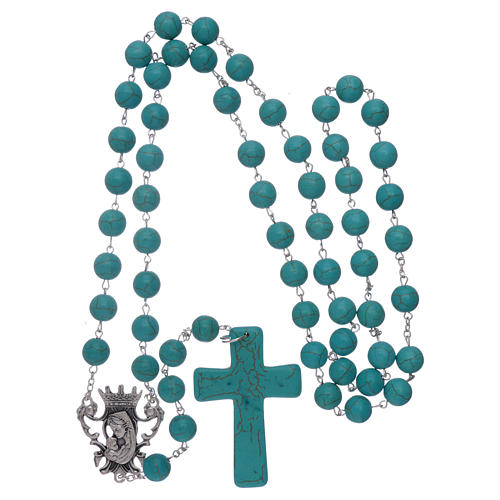 Rosary with turquoise glass grains 10 mm 4