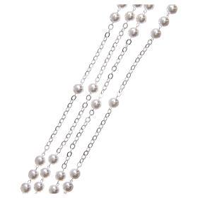 Rosario matrimonio perle plastica vetro con croce e crociera metallo argentato s3