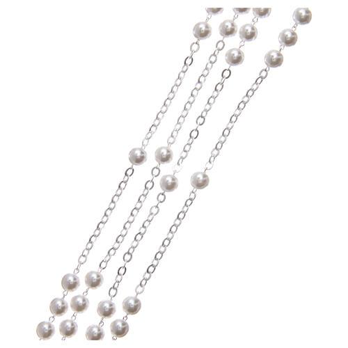 Rosario matrimonio perle plastica vetro con croce e crociera metallo argentato 3