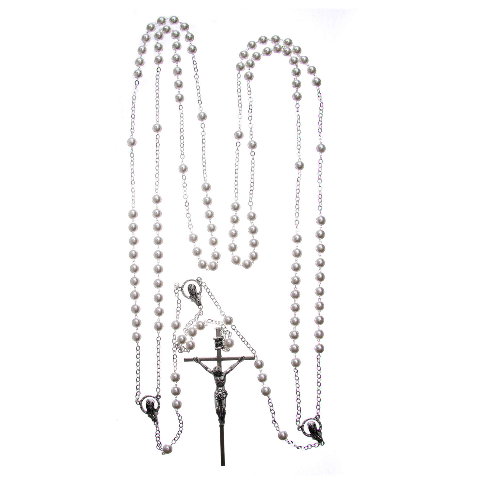 Wedding rosary with plastic and glass pearls with cross and center piece in silver metal 4