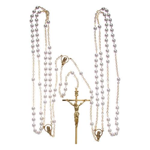 Rosario perle plastica vetro e metallo dorato da matrimonio 4
