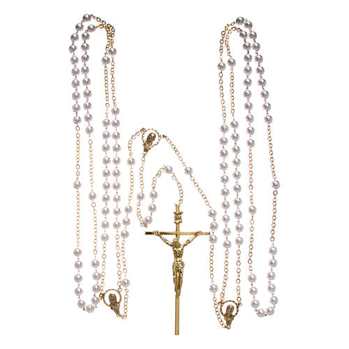 Rosary with plastic and glass pearls in gold metal for wedding 4
