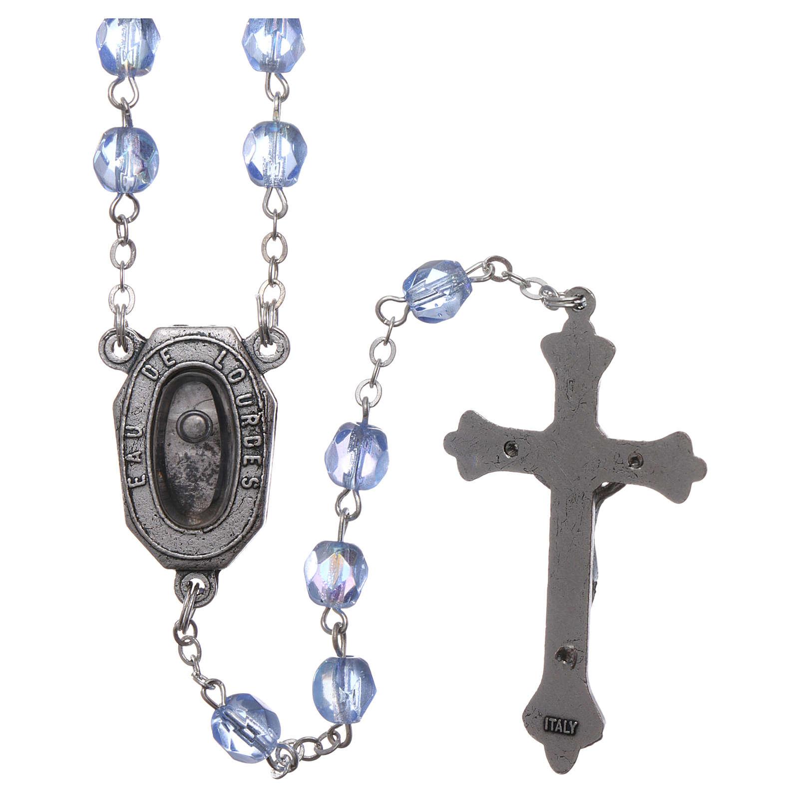 Rosario vetro devozionale Madonna di Lourdes acqua 4x3 mm 4