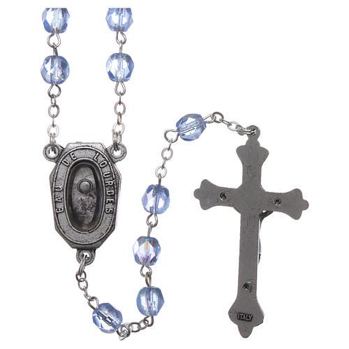 Rosario vetro devozionale Madonna di Lourdes acqua 4x3 mm 2
