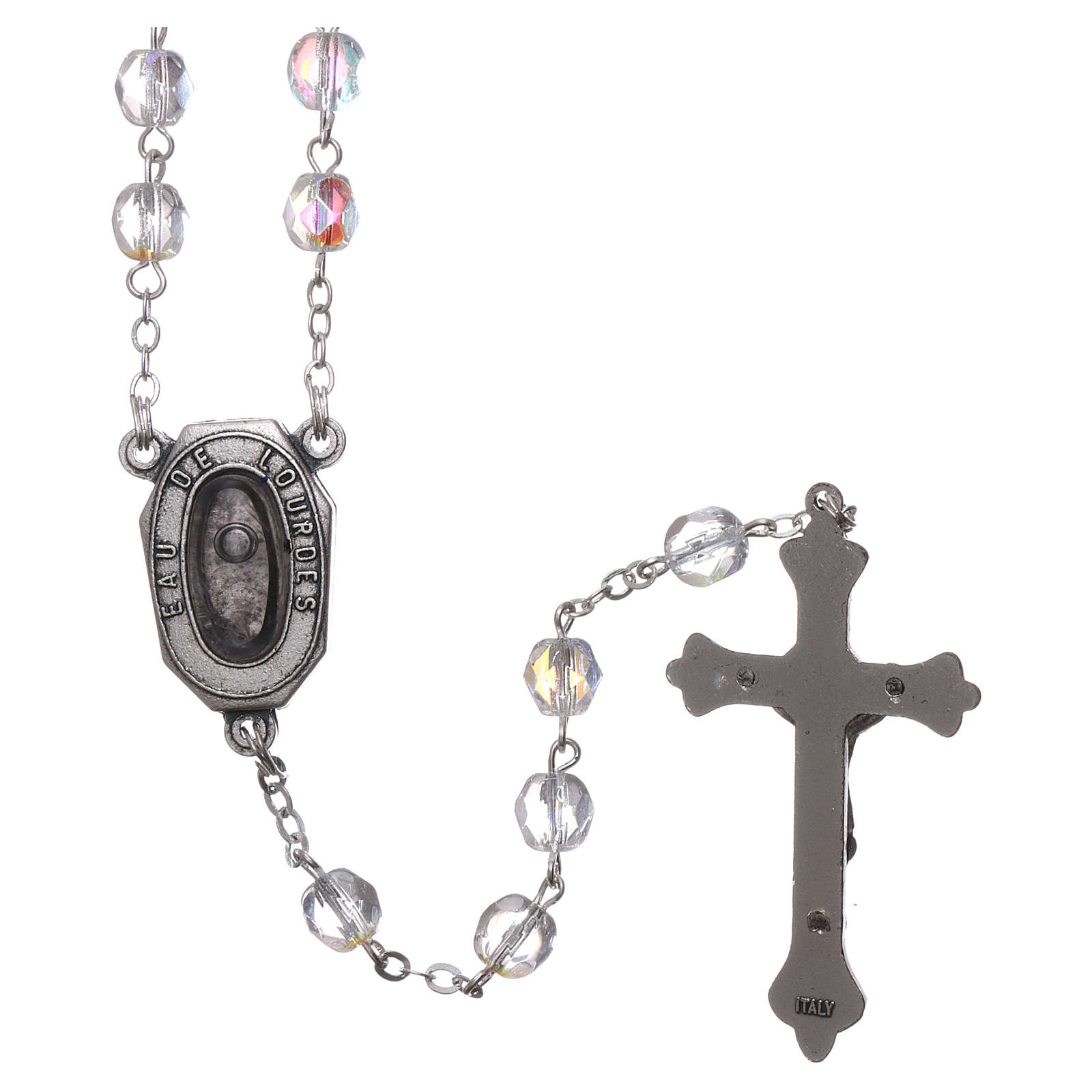 Glass rosary Our Lady of Lourdes with Lourdes water 4x3 mm grains 4