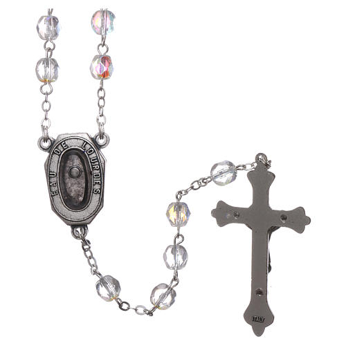 Glass rosary Our Lady of Lourdes with Lourdes water 4x3 mm grains 2