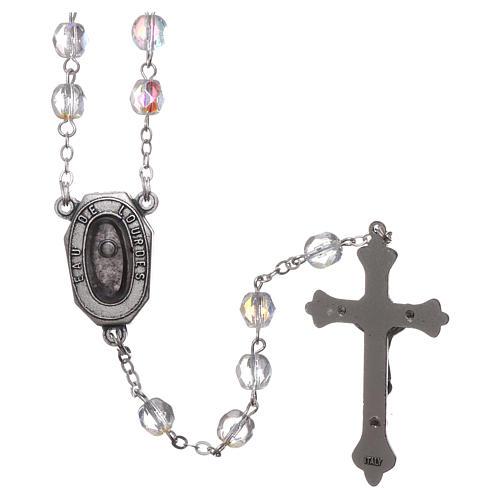 Rosario in vetro Madonna di Lourdes acqua 4x3 mm 2