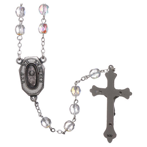 Glass rosary Our Lady of Lourdes water 4x3 mm 2