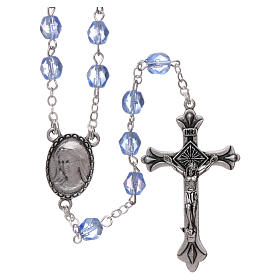 Glass rosaries: Rosary in glass Our Lady of Lourdes 4x3 mm grains, blue
