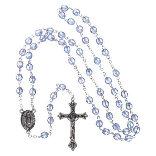 Rosario vetro Madonna di Lourdes 4 mm celeste 4