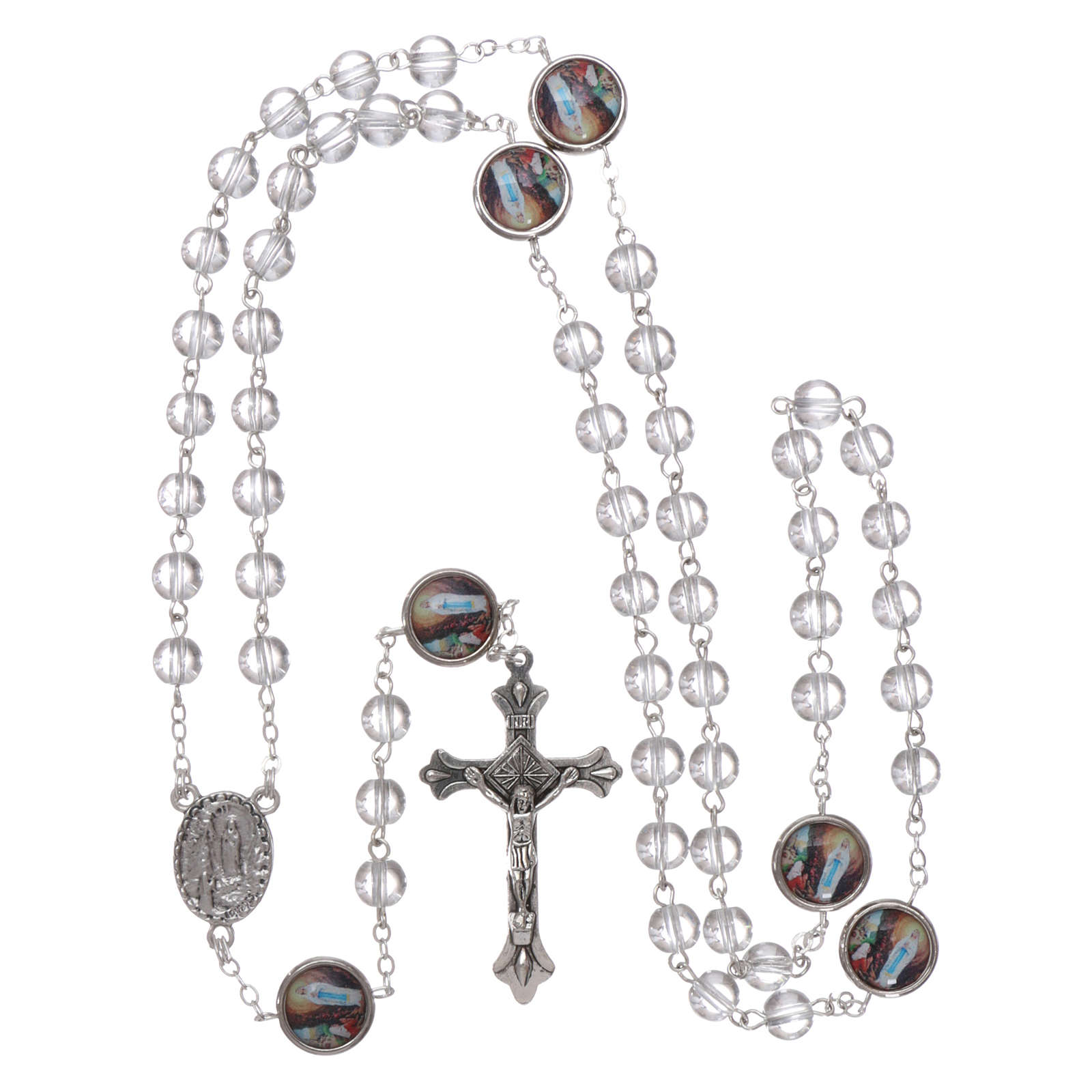 Rosario vetro Madonna di Lourdes 4 mm cristallo 4