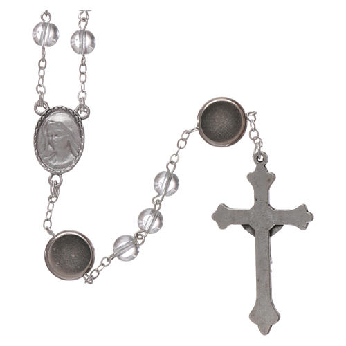 Rosario vetro Madonna di Lourdes 4 mm cristallo 2
