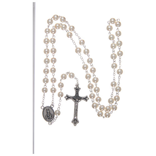 Rosary in glass Our Lady of Lourdes 4x3 mm grains, white 4