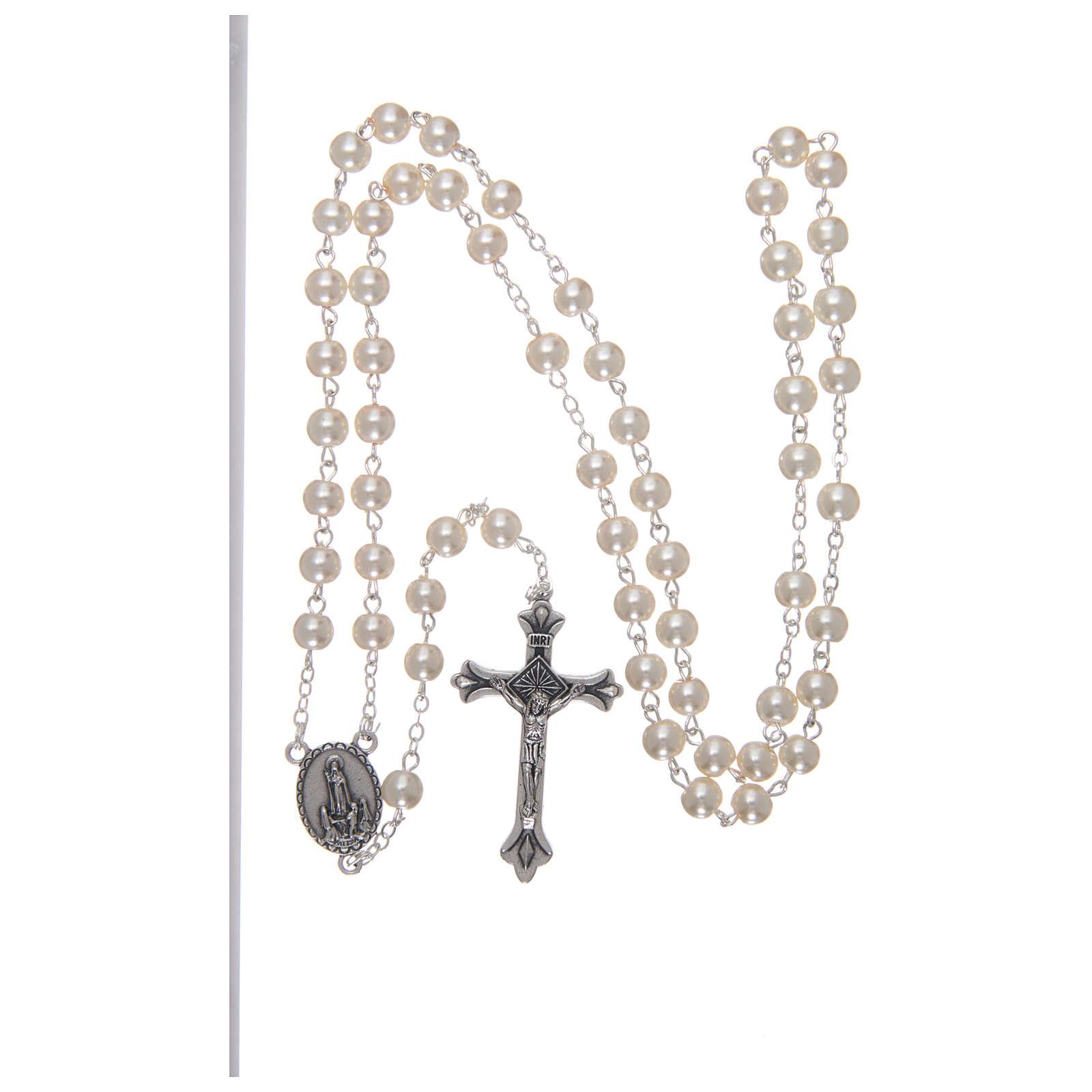 Rosario vidrio Virgen de Lourdes 4 mm blanco 4